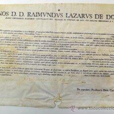 Documentos antiguos: DOCUMENTO/ DIPLOMA EN PERGAMINO DEL AÑO 1805, BARCELONA. 27X35 CM.. Lote 77859339