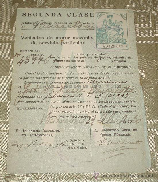 CARNET DE CONDUCIR EXPEDIDO EN BARCELONA AÑO 1930 SELLO Y POLIZAS (Coleccionismo - Documentos - Otros documentos)