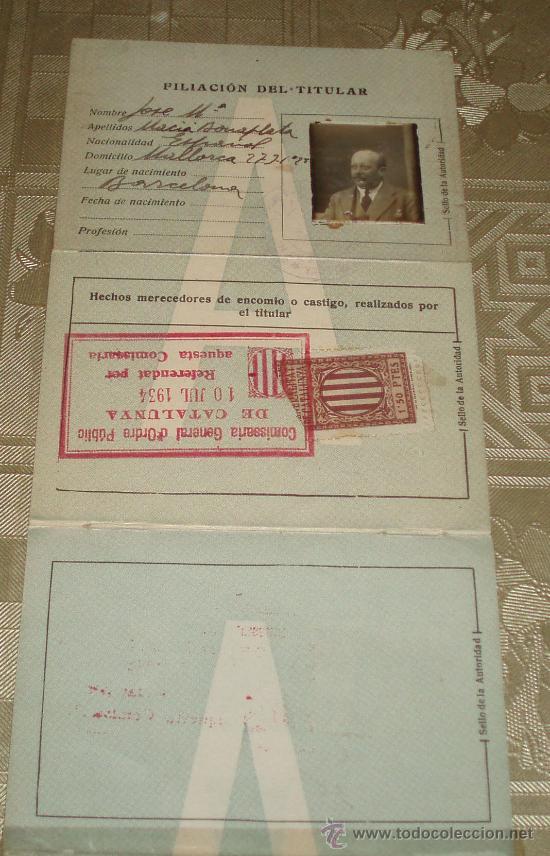 Documentos antiguos: carnet de conducir expedido en Barcelona año 1930 sello y polizas - Foto 2 - 37555147