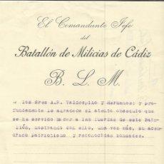 Documentos antiguos: CARTA DE AGRADECIMIENTO DEL COMANDANTE JEFE ENRIQUE MUÑOZ ELEZ-VILLARROEL. CÁDIZ. 1936. Lote 37596409