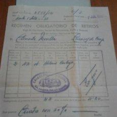 Documentos antiguos: REGIMEN OBLIGATORIO DE RETIROS EN 1935 ERA DE 10 CENTIMOS DIARIOS POR UN OBRERO. Lote 37652045