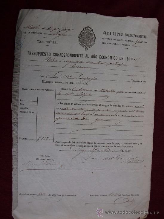 AYUNTAMIENTO DE VILALABA, LUGO. ONCE CARTAS DE PAGO, AÑOS 1884 -1885, 1886-1887. GALICIA (Coleccionismo - Documentos - Otros documentos)