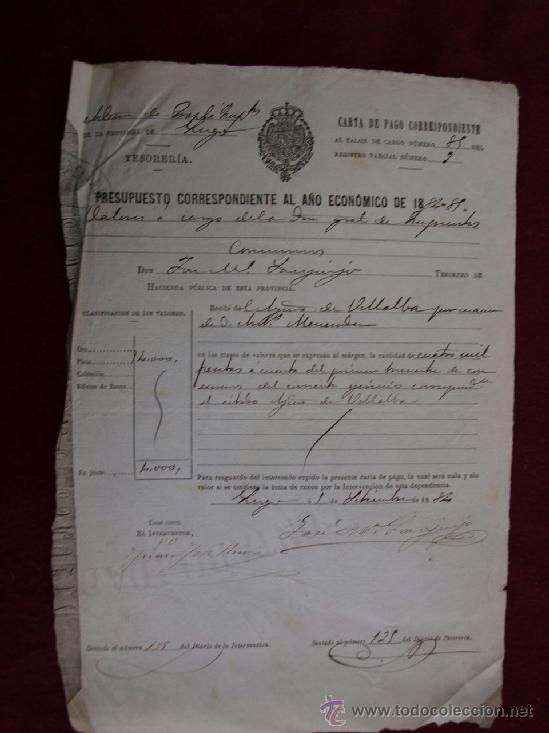 Documentos antiguos: Ayuntamiento de Vilalaba, Lugo. Once cartas de pago, años 1884 -1885, 1886-1887. Galicia - Foto 2 - 37676617