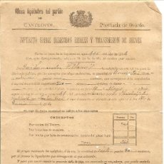 Documentos antiguos: CASTROPOL (OVIEDO) - RECIBO IMPUESTO SOBRE DERECHOS REALES Y TRANSMISIÓN DE BIENES - AÑO 1904. Lote 37694641