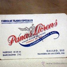 Documentos antiguos: TARJETA DE VISITA PUBLICITARIA, FABRICA DE TEJIDOS, PANAS LLORENS, BARCELONA. Lote 37778074