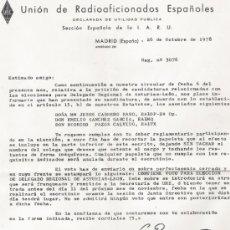 Documentos antiguos: UNION DE RADIOAFICIONADOS ESPAÑOLES - CARTA Y SOBRE CON MEMBRETE - AÑO 1978 - VER FOTO. Lote 37775138
