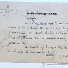 Documentos antiguos: CARTA MENBRETE DE FALANGE / DELEGACION PROVINCIAL DE SINDICATOS / HUESCA 1942. Lote 37958018