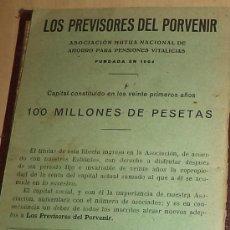 Documentos antiguos: - 1.928 LIBRETA ASOCIACION MUTUA NACIONAL DE AHORRO PARA PENSIONES VITALICIAS LOS PREVI. Lote 38010268