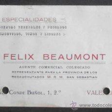 Documentos antiguos: (6542)TARJETA DE VISITA,CONSERVAS VEGETALES Y PESCADOS FELIX BEAUMON,VALENCIA,CONSERVACION:. Lote 38022084