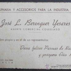Documentos antiguos: (6683)TARJETA DE VISITA/FELICITACION NAVIDEÑA,MAQUINARIA INDUSTRIA TEXTIL,VALENCIA,. Lote 38035693