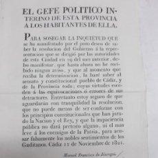 Documentos antiguos: IMPRESO CADIZ 12 NOVIEMBRE 1821 MANIFIESTO AL PUEBLO POR MANUEL FRANCISCO DE JAÚREGUI.. Lote 38096878