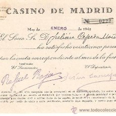 Documentos antiguos: LOTE 11 RECIBOS CASINO DE MADRID, 1942.. Lote 38225139