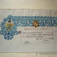 Documentos antiguos: TITULO DE COFRADE DE HONOR - JAEN 15 DE MARZO DE 1949 - VER FOTOS Y DESCRIPCION. Lote 38281113