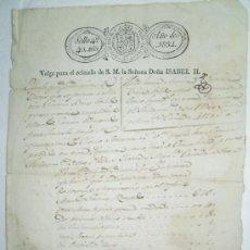 Documentos antiguos: DOCUMENTO ANTIGUO 1834.. Lote 38310798