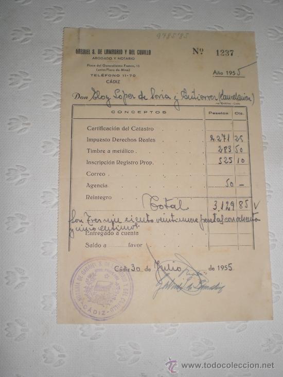 Documentos antiguos: Lote de 5 antiguos documentos de notarios y abogados. 1939 y 1955. - Foto 3 - 38332223