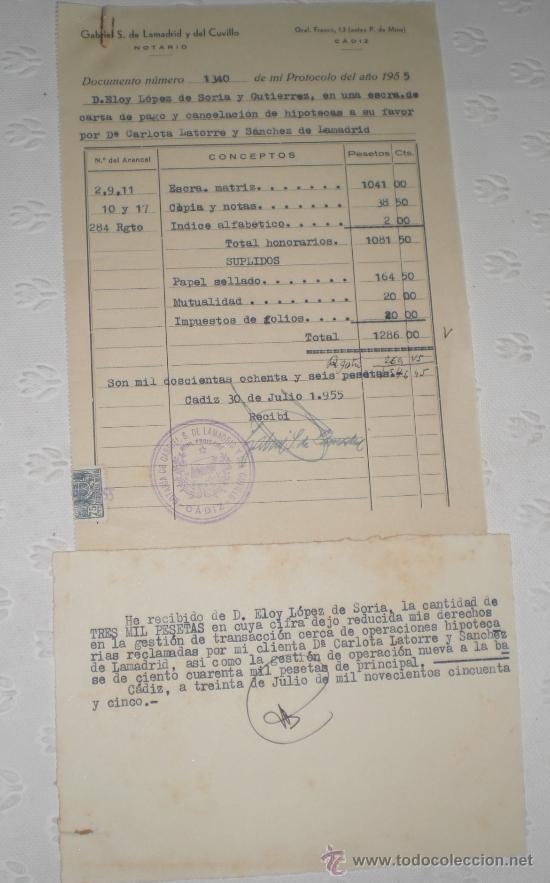 Documentos antiguos: Lote de 5 antiguos documentos de notarios y abogados. 1939 y 1955. - Foto 5 - 38332223