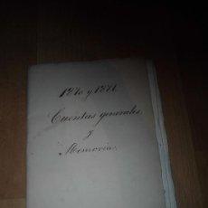 Documentos antiguos: MONTE PIO DEL NIÑO DIOS DE LA SALUD CUENTAS GENERALES Y MEMORIA 1870-71. Lote 38376218