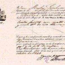 """Documentos antiguos: 1849.- CONOCIMIENTO DE EMBARQUE DE LA GOLETA """"SAN TELMO"""" DE SEVILLA A BILBAO. CAPITAN JOSÉ Mª YBARRA. Lote 38379075"""
