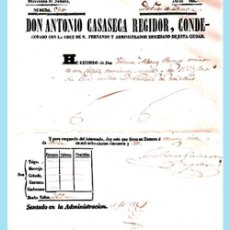 Documentos antiguos: 1852.- PAR DE DOCUMENTOS RECIBOS DE LA ADMINISTRACIÓN DIOCESANA DE ZAMORA. 21 X 30 CM.. Lote 38379527