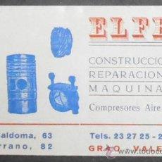 Documentos antiguos: (1097)TARJETA VISITA 12X7 CM,ELFER,CONSTRUCCION MAQUINARIA,VALENCIA,. Lote 38429572
