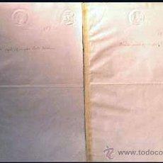 """Documentos antiguos: 1889. REGENCIA DE Mª CRISTINA. 2 DOCUMENTOS """"MUESTRAS"""" DE GRABADOS DE LOS SELLOS EN SECO DE 10 CTS. . Lote 38404809"""