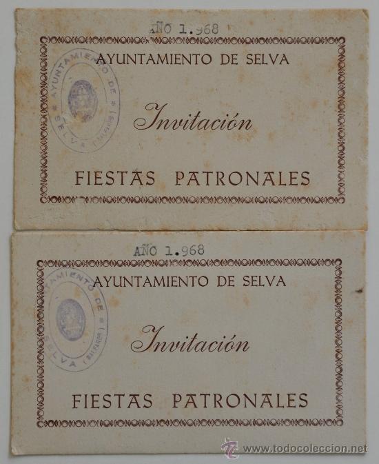2 Tarjetas Invitacion Del Ayuntamiento De Selva A La Fiestas Patronales 1968 Cuño Del Ayuntamiento