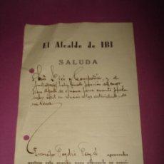 Documentos antiguos: ANTIGUA CARTA SALUDA DE EL ALCALDE DE IBI A SRES DE PICÓ Y CIA. FCA. DE JUGUETES DEL AÑO 1934.. Lote 38535036