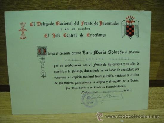 DIPLOMA DEL FRENTE DE JUVENTUDES A UN MAESTRO DE HUESCA - AÃ'O 1949 (Coleccionismo - Documentos - Otros documentos)
