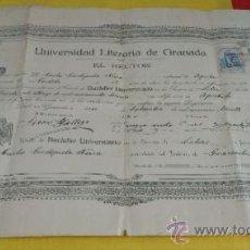 Documentos antiguos: TITULO DE BACHILLER UNIVERSITARIO.UNIVERSIDAD DE GRANADA, SECCION DE LETRAS,.6 DE SEPTIEMBRE DE 1930. Lote 38593358