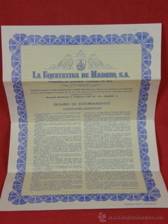 SEGURO DE ENTERRAMIENTO LA EQUITATIVA DE MADRID S.A 1 JUNIO 1967 (Coleccionismo - Documentos - Otros documentos)