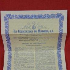 Documentos antiguos: SEGURO DE ENTERRAMIENTO LA EQUITATIVA DE MADRID S.A 1 JUNIO 1967. Lote 38608022