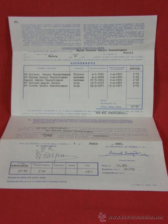 Documentos antiguos: SEGURO DE ENTERRAMIENTO LA EQUITATIVA DE MADRID S.A 1 JUNIO 1967 - Foto 2 - 38608022