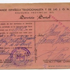 Documentos antiguos: CERTIFICADO DE SERVICIO SOCIAL DE LA SECCIÓN FEMENINA DE FALANGE DE SANTANDER. AÑO 1952. Lote 38667661