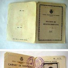 Documentos antiguos: CARNET DE IDENTIDAD VENDEDOR MERCADO. SECCIÓN ABASTECIMIENTOS, VALENCIA. 1963. Lote 38696174