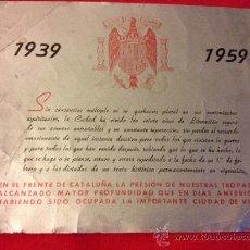 Documentos antigos: ANTIGUO PROGRAMA DEL 1959 CELEBRACIÓN XX AÑOS DE PAZ - VICH - BARCELONA. Lote 38700853