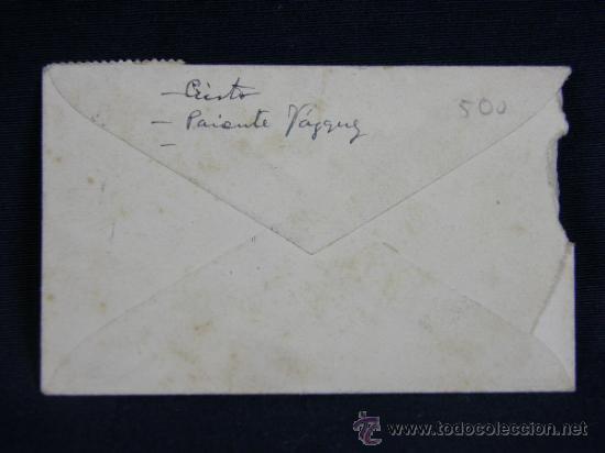 Documentos antiguos: Sobre pequeño de 10 por 6 matasellado en Santander 26 diciembre 1949 - Foto 2 - 38719922