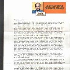 Partido Reformista Democrático ( P.R.D.).Elecciones 1986.Carta del candidato: Miguel Roca. Hoja.