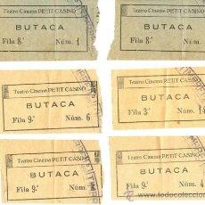 Documentos antiguos: SEIS ENTRADAS TEATRO CINEMA PETIT CASINO - SAN SEBASTIÁN. Lote 38761365