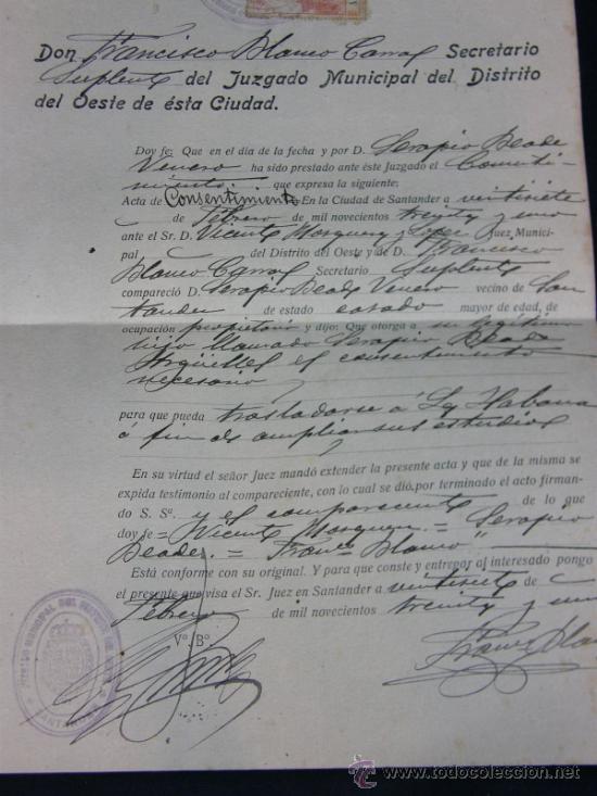 ACTA DE CONSENTIMIENTO SANTANDER 27 DE FEBRERO DE 1931 SERAPIO BEADE ANTE EL JUEZ MUNICIPAL (Coleccionismo - Documentos - Otros documentos)