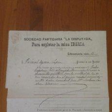 Documentos antiguos: ANTIGUO DOCUMENTO LIBRAMIENTO SOCIEDAD LA DISPUTADA MINA IBERIA HERRERIAS CUEVAS ALMERIA LORCA 1912. Lote 38834869