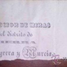 Documentos antiguos: FAJA DE UNA CIRCULAR DE LA INSPECCION DE MINAS DEL DISTRITO DE SIERRA ALMAGRERA Y MURCIA ALMERIA. Lote 38913476