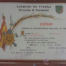Documentos antiguos: DIPLOMA CURSO DE CONDUCTORES DE CARRO AMX-30 ENMARCADO EN MADERA CON CRISTAL. Lote 39161576