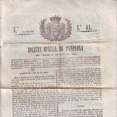 Documentos antiguos: BOLETIN OFICIAL DE PAMPLONA DEL VIERNES 15 DE JULIO DE 1842. 3ER TRIMESTRE, Nº84.. Lote 39109974