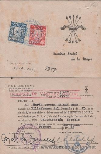 0591 FALANGE - SERVICIO SOCIAL DE LA MUJER - CERTIFICADO DE CUMPLIMIENTO DEL SERVICIO (Coleccionismo - Documentos - Otros documentos)