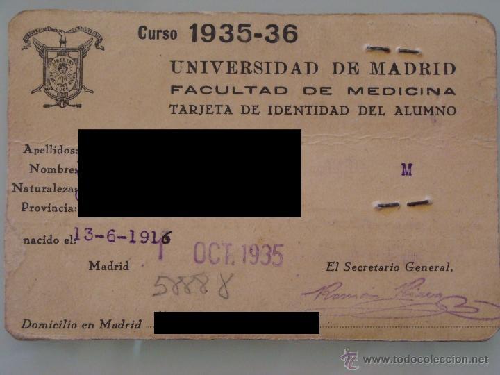 Documentos antiguos: ANTIGUO CARNET DOCUMENTO. FACULTAD MEDICINA MADRID. CURSO 1935 1936. TARJETA UNIVERSIDAD. 1880. - Foto 2 - 39345163