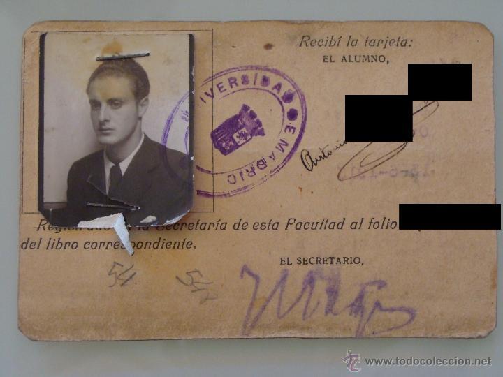 ANTIGUO CARNET DOCUMENTO. FACULTAD MEDICINA MADRID. CURSO 1935 1936. TARJETA UNIVERSIDAD. 1880. (Coleccionismo - Documentos - Otros documentos)