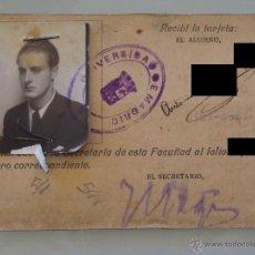 Documentos antiguos: ANTIGUO CARNET DOCUMENTO. FACULTAD MEDICINA MADRID. CURSO 1935 1936. TARJETA UNIVERSIDAD. 1880. . Lote 39345163