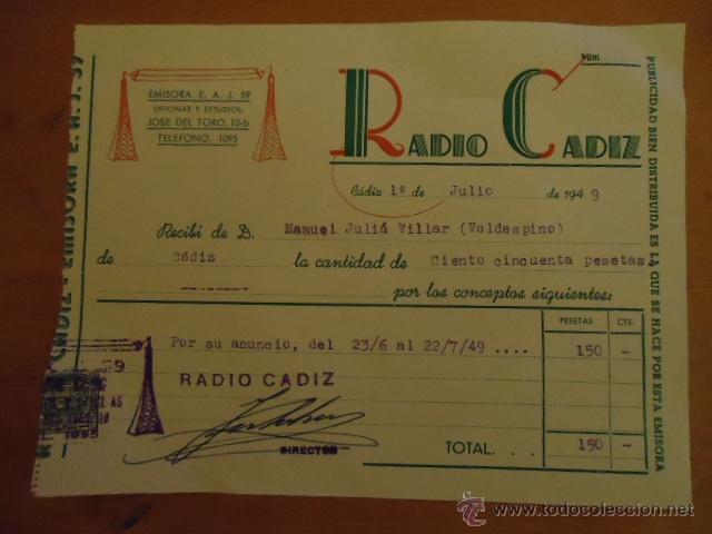 ANTIGUO RECIVO RADIO CADIZ 1949 (Coleccionismo - Documentos - Otros documentos)