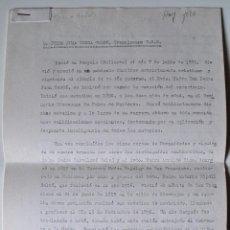Documentos antiguos: BIOGRAFIA A MAQUINA ORIGINAL, VIDA DE DON PEDRO JUAN CERDA COLOM, FRANCISCANO T.O.R., BUNYOLA . Lote 39695311