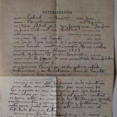 Documentos antiguos: AUTOBIOGRAFIA COMPLETADA A MANO POR EL PINTOR JUAN CABIROL SEDROS!! . Lote 39711533
